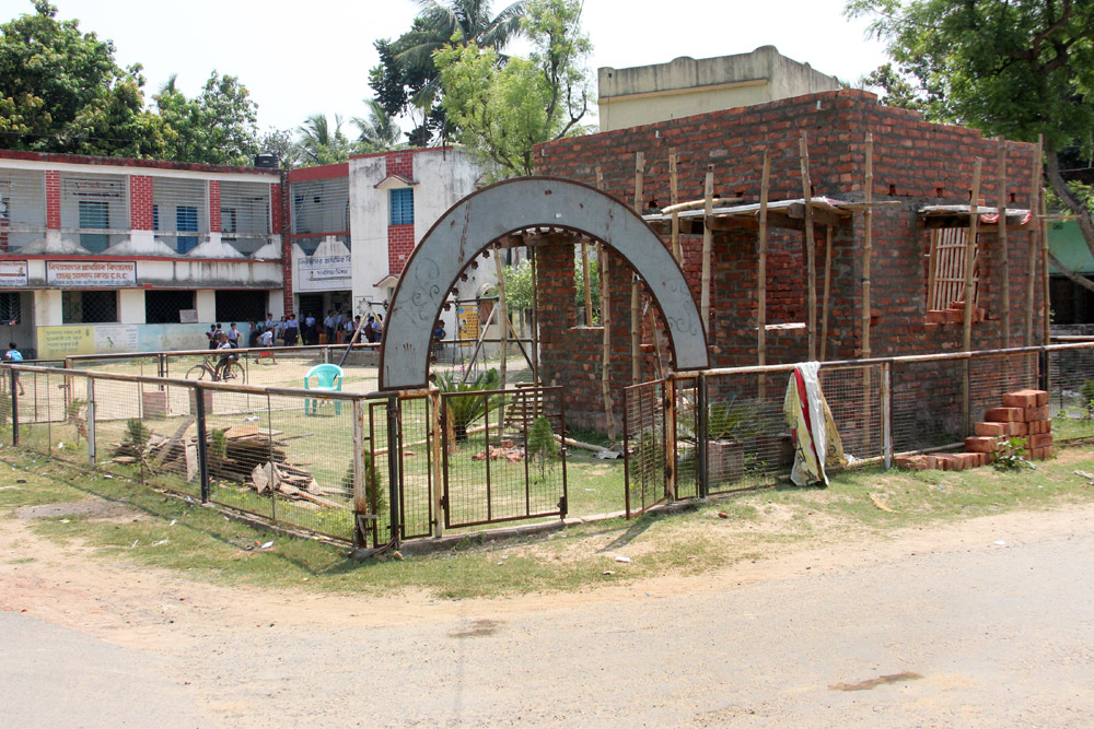 The club building being constructed inside school campus. Picture by Abhi Ghosh