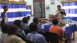 OC Santipur police station Raja Sarkar speaking at a counseling session. Picture by Abhi Ghosh