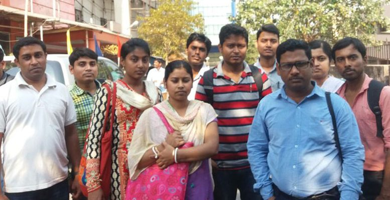 Some of the youths who were issued appointment letters, but withdrawn later by Council. Picture by Pranab Debnath