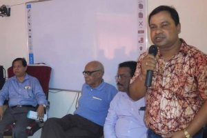 KU NSS Coordinator Professor Sukhen Biswas speaking at the inauguration programme of Blood Donors'. Picture courtesy KU