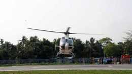 A helicopter in trial landing at the Govt College helipad for visit of CM Mamata Banerjee