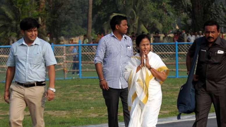 Chief Minister Mamata Banerjee after landing at Krishnanagar Govt College ground on Thursday afternoon. Picture by Pranab Debnath
