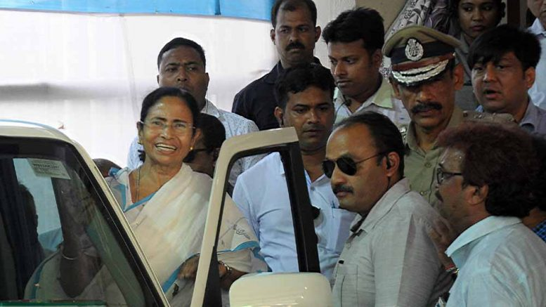 Mamata Banerjee leaving after the meeting. Picture by Pranab Debnath