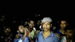 Gate man Biswanath Dhali being greeted by locals after release from police lock up in Taherpur