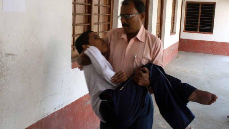Syamantak being taken to examination hall during this year's Madhyamik Examination