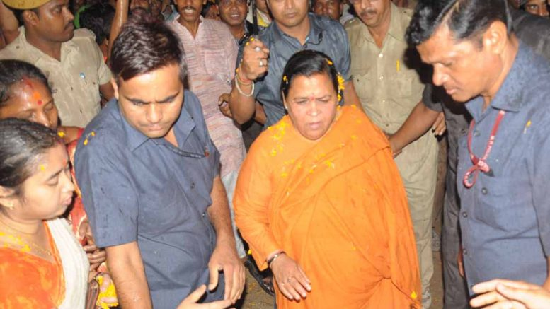 Minister Uma Bharati in Nabadweep. Picture by Pranab Debnath