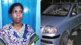 Trinamul Councillor Laxmi Oraon and her damaged car