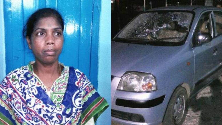 Trinamul Councillor Laxmi Oraon and her damaged car
