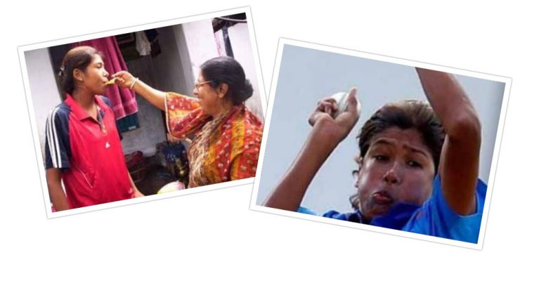 Jhulan Goswami at her Chakdaha home with mother (file picture) and Jhulan in action