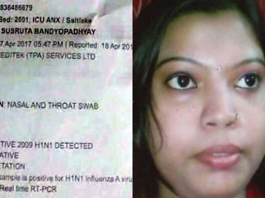 Deceased homemaker Sima Ghosh and her blood test report revealed swine flu