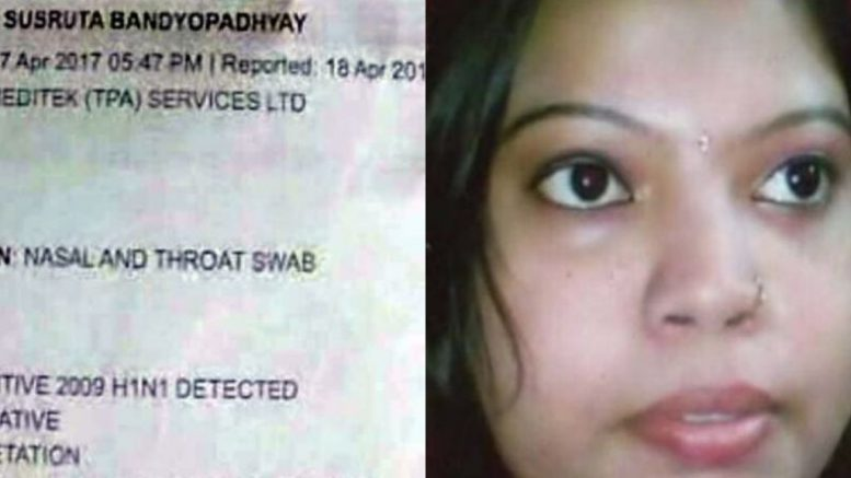 Deceased homemaker Sima Ghosh and her blood test report revealed swine flu