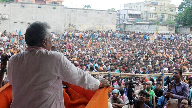 BJP WB president Dilip Ghosh speaking at a public rally in Krishnanagar on Monday. Picture by PRANAB DEBNATH