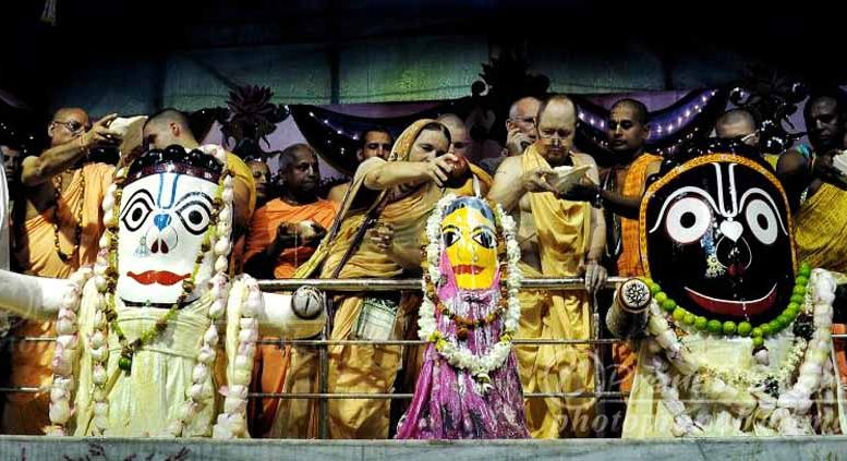 The deity of Lord Jagannath being given holy bath in Rajapur. Picture by Pranab Debnath