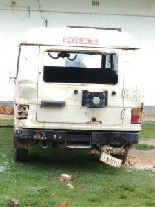 The police vehicle of that was torched by the violent mob
