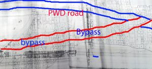 The area map. Red colored stretch is the proposed bypass and blue stretch is existing PWD road