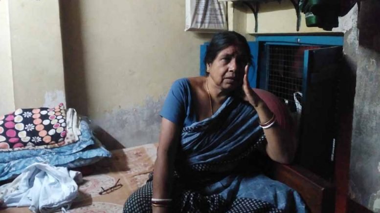 Cricketer Jhulan Goswami's mother Jharna Goswami in a sombre mood after the defeat of India to England in Lords. NfN Picture