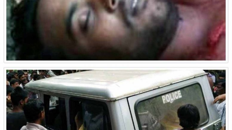 Deceased Pijush Biswas and the angry mob gheraoed the police in Tehatta. Picture by Saurav Bhattacharyay
