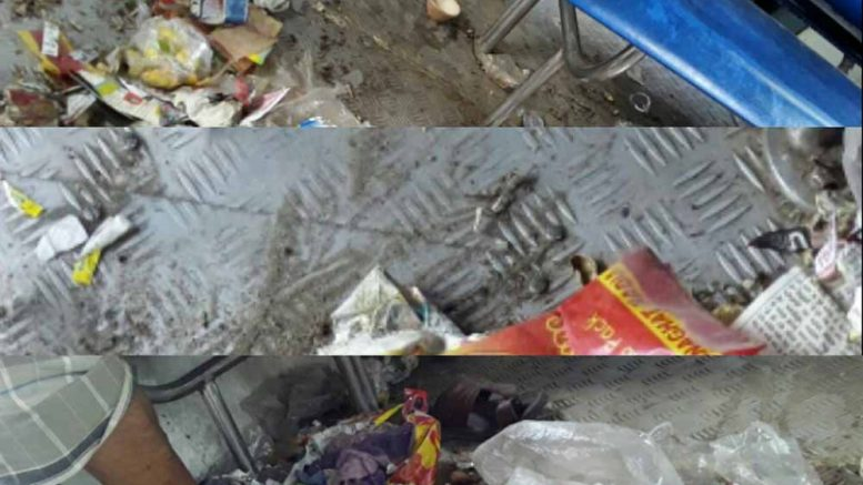 The dirty compartment of Sealdah bound Ranaghat local