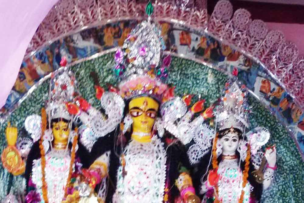 The Durga idol after the theft on Saturday morning.
