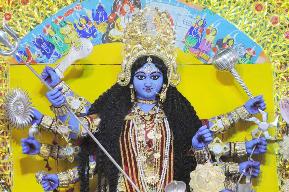 The Durga image painted in Blue at Chattopadhyay house in Krishnanagar. Picture by Pranab Debnath