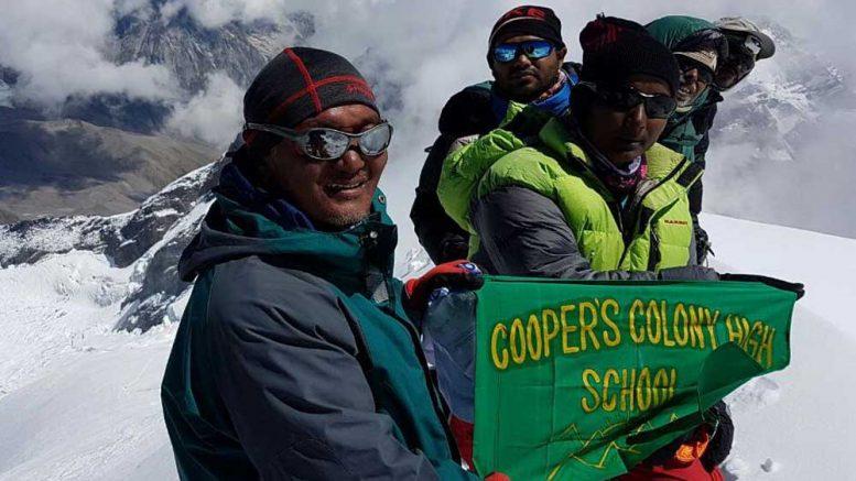 Rumpa with team mates at the summit of Black peak on September 6 morning
