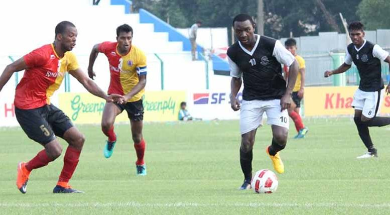 A scene from East Bengal Mohammedan Match; Picture courtesy Md Sporting club