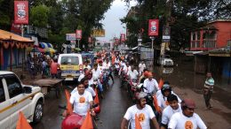 Bikers in a rally to mark the 120th anniversary of Swami Vevekananda's Chicago speech