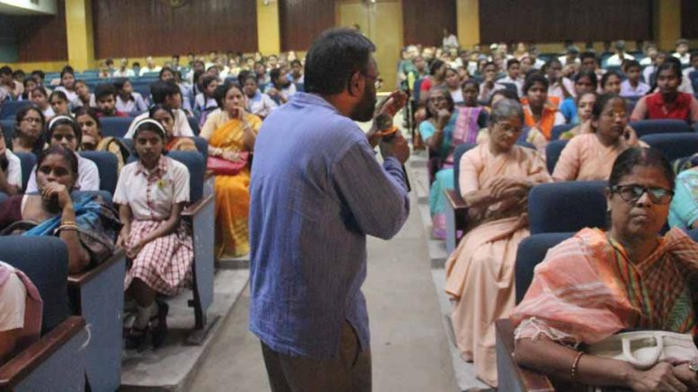 UFlourish Foundation Director and Counselling Psychologist Father Joseph Pulickal speaking with parents and children. Picture by Abhi Ghosh