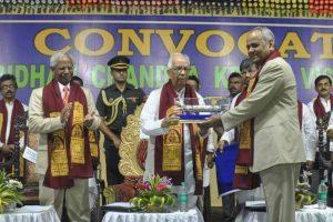 Governor confeering D Sc (honoris cause) to Professor Ram Badan Singh. (Pranab Debnath)