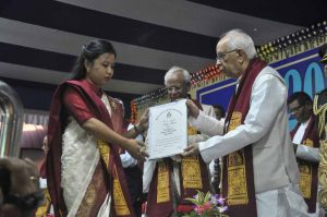 A student receiving degree from the Governor (Pranab Debnath)