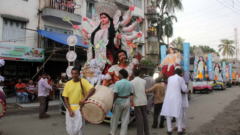A Durga idol during the carnival on Monday in Ranaghat. Picture by Abhi Ghosh