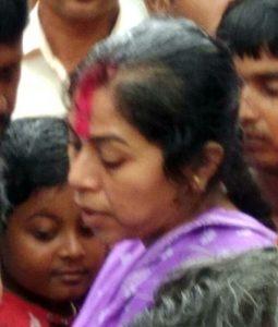 Slain officer's wife Sudeshna and son