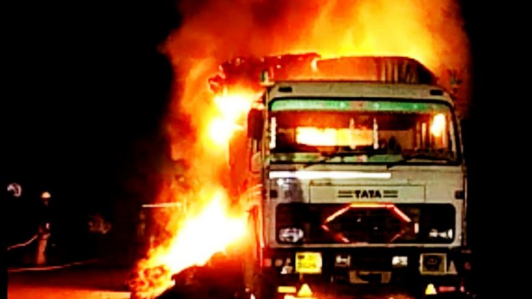 The lorry in flames