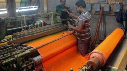 The weavers making the longest sari at a workshop in Krishnanagar. Picture by Abhi Ghosh