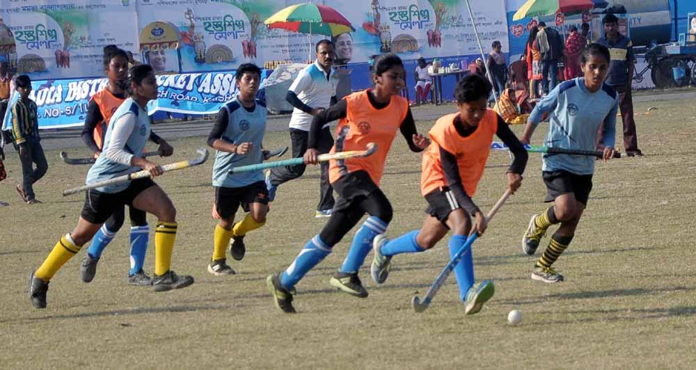 Matangini Ekota (Blue jersey) girls playing against Nivedita XI (Orange jersey)