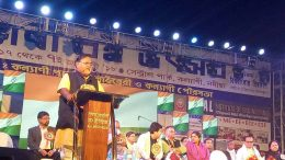 Education Minister Partha Chatterjee speaking at Kalyani Book Festival on Saturday evening.