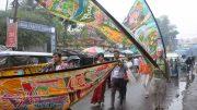 Artistes from UK waling with scrolls during Silver River India Walk in Krishnanagar