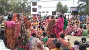 Protest demonstration by labourers at Taherpur police station premise