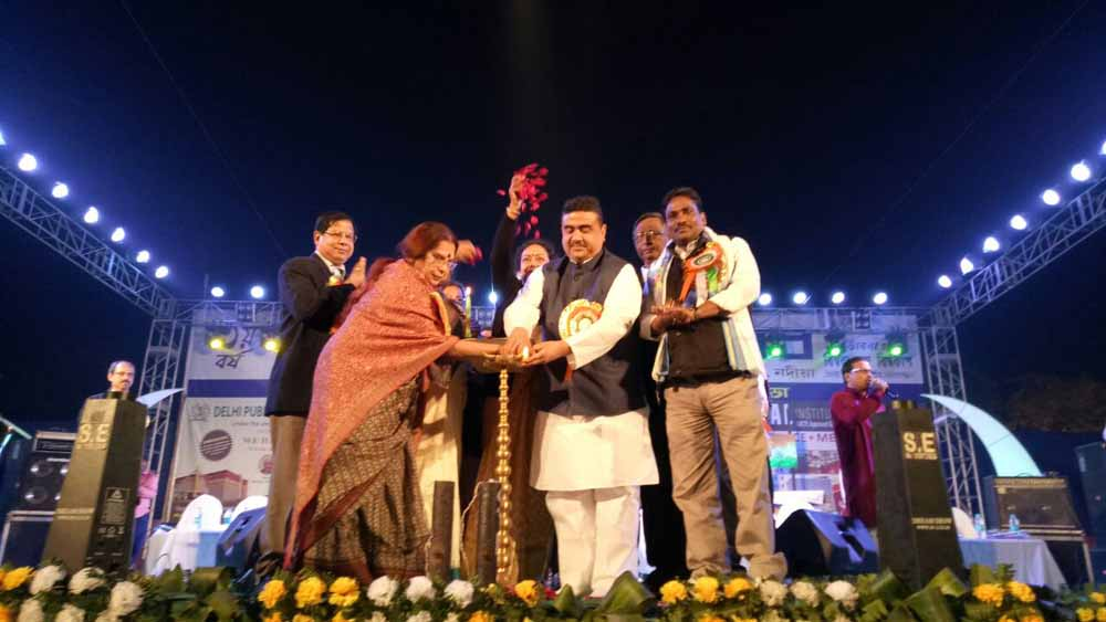 Transport minister Suvendu Adhikari inaugurating the Kalyani Book Festival
