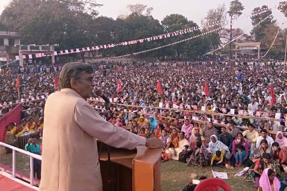 Surjakanta Mishra speaking in Tehatta on Saturday