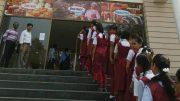 Girls entering the SVF Cinema in Krishnanagar to watch 'Padman'
