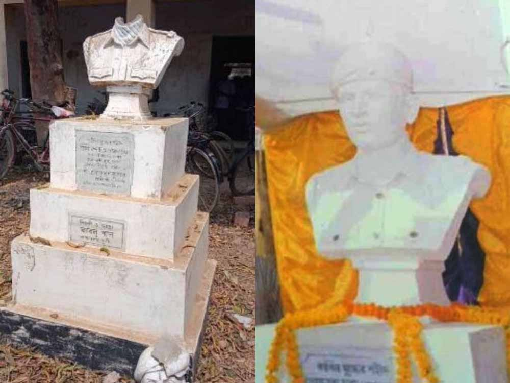 Martyr Premananda Chanda: The damaged bust and the actual one