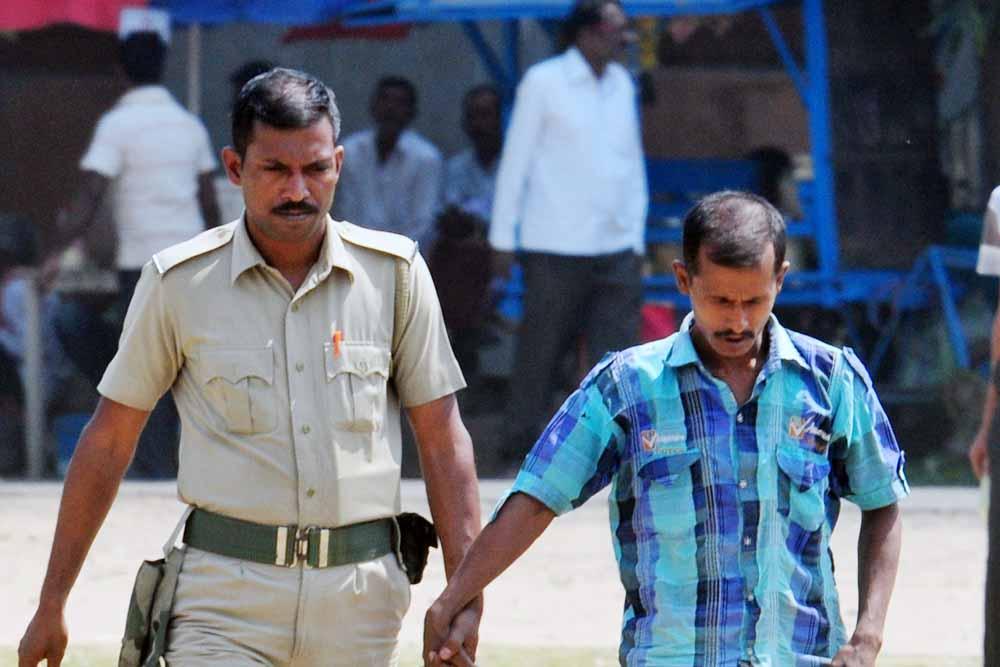 Tapas Majumder being taken to court in Krishnanagar on Friday