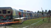 Unfulfilled dream...A club in Karimpur recently made a model of train parked at Karimpur rail station on the occasion of a cultural festival. Picture by Ashis Pramanik