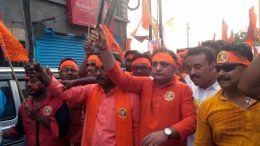 BJP state secretary Raju Banerjee walking in Ram Navami rally in Ranaghat displaying arms