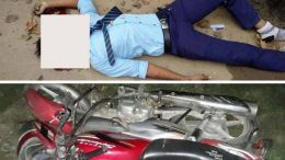 Subhranil lying dead on road and the bike he was riding