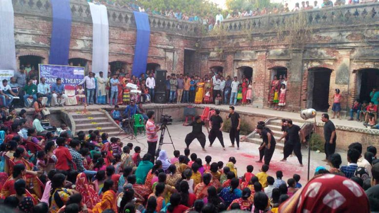 A play being staged at the courtyard of Roy Mansion in Chakdah.