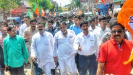 Mukul Roy leads a rally in Krishnanagar on Sunday