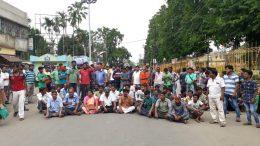 Road blockade by BJP activist in Santipur town