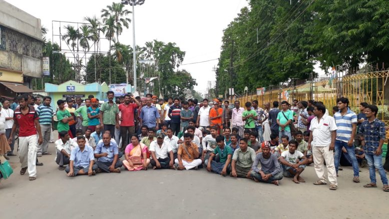 Road blockade by BJP activist in Santipur town